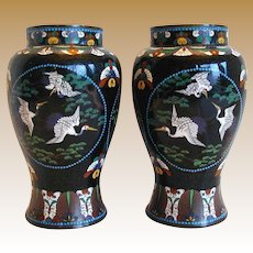 Japanese Black Cloisonne Vases, True Pair, Antique Meiji Era, Flying Cranes