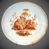 Antique English Large Bowl, Cupid with Basket of Hearts, Ridgway Early 19th C