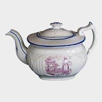 "Antique ""Faith"" Teapot, English Porcelain, Basket Weave Molding, Early 19th C"