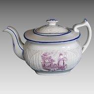 Teapot, English Porcelain, Basket Weave Molding, Antique Early 19th C