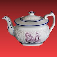 Teapot, English Porcelain, Basket Weave Molding, Antique Early 19th C