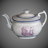 "Antique ""Faith"" Teapot, English Porcelain, Basket Weave Molding, Early 19th C"