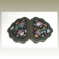 Japanese Cloisonne Buckle for Belt or Cape, Meiji, Antique 19th C