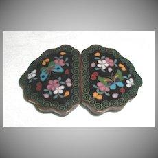Japanese Cloisonne Buckle for Belt or Cape, Meiji, Antique 19th C