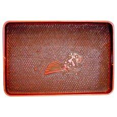 Japanese Lacquer Large Tray, Red & Black, Kamakura Bori, Vintage