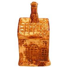 Spongeware Pottery Still Bank or Money Box,  House Form, Antique 19th C