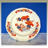 Early Derby Plate, Chinoiserie with Imari Colors, Antique Early 19th C English