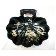 Antique Papier Mache Bowl or Crumb Tray, 19th C English Victorian