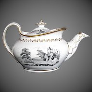 Antique English Teapot,  Rare Boat Shape, New Hall Porcelain Early 19th C