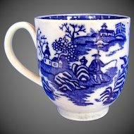 """Antique Worcester Coffee Cup, Blue & White """"Fisherman and Cormorant"""" ,  18th C"""