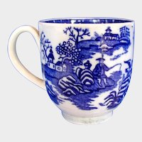 "Antique Worcester Coffee Cup, 18th C Blue & White ""Fisherman and Cormorant"""