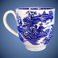 "Antique Worcester Coffee Cup, Blue & White ""Fisherman and Cormorant"" ,  18th C"