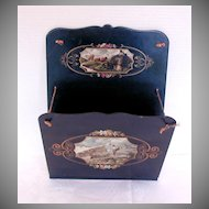 Papier Mache Wall Pocket, Large,  Alpine Scenes, Antique 19th C Continental
