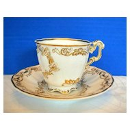 Copeland & Garrett Cup & Saucer, Felspar Porcelain, Antique Early 19th C English