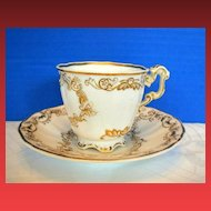 Copeland & Garrett Cup & Saucer, Felspar Porcelain, Antique Early 19th C English