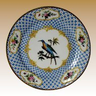 Antique French Ornithological Plate, Hand Painted Blue Exotic Bird, Raised Gold, Early 19th C