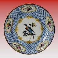 Antique French Cabinet Plate, Hand Painted Blue Exotic Bird, Raised Gold, Early 19th C
