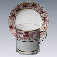 """Spode Coffee Can & Saucer, Rare """"Pluck and Dust"""" Technique, Antique Early 19th C"""