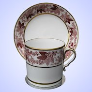 "Antique Spode Coffee Can & Saucer, Rare ""Pluck and Dust"", Early 19th C"