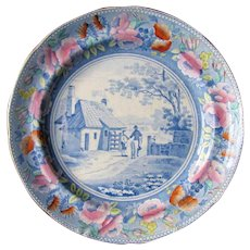 """Rare William Mason Earthenware Plate, """"Tyburn Turnpike"""", Antique Early 19th C"""