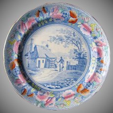 "Rare William Mason Earthenware Plate, ""Tyburn Turnpike"", Antique Early 19th C"