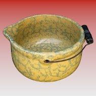 "Spongeware Yellow Ware Batter Bowl ""Gypsy Kettle"",  Wire Handle, Antique American"
