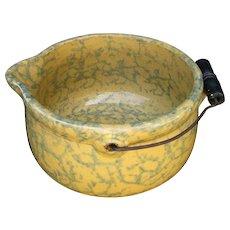 """Antique Batter Bowl, Spongeware, """"Gypsy Kettle"""", American"""