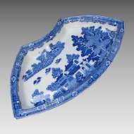 "Spode Supper Set Segment, "" Forest Landscape"", Blue & White, Antique Early 19th C"