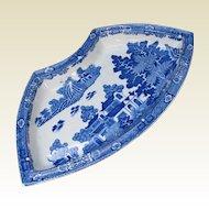 "Spode Supper Set Segment, "" Forest Landscape"", Blue & White, Antique Early 19th C"