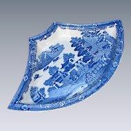 "Spode Supper Set Segment, Blue & White, ""Forest Landscape"", Antique Early 19th C"