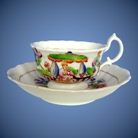 Antique Cup & Saucer, English Chinoiserie, Early 19th C Hilditch