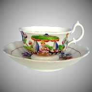 Hilditch Cup & Saucer, Garden Tea Party, Antique Early 19th C English Chinoiserie Porcelain