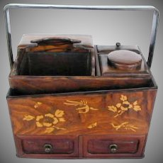 Japanese Box, Keyaki Wood & Lacquer, Tobako Bon,  Antique Meiji Era