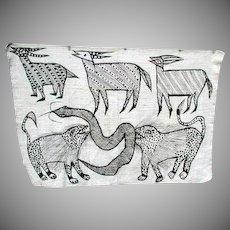African Senufo Mud Cloth with Antelopes, Snake, Hyenas, Vintage Ivory Coast