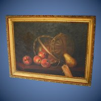 Antique Oil Painting, Basket of Apples, 19th C American