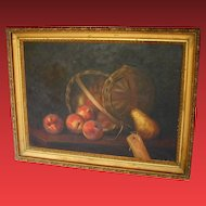 American Oil Painting, Still Life, Basket of Apples with Pear, Antique 19th C