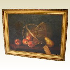 American Oil Painting, Basket of Apples with Pear, Antique 19th C