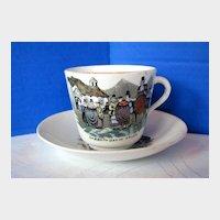 Antique English Cup & Saucer, Welsh Folk Customs, 19th C  Porcelain