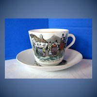 Antique English Cup & Saucer, Welsh Folk Customs, 19th C  Porcelain