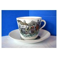 English Cup & Saucer, Welsh Folk Customs, Antique 19th C  Porcelain