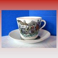 English Cup & Saucer, Welsh Folk Customs, Antique 19th C  Porcelain