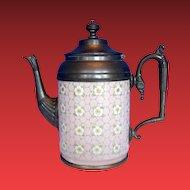 Graniteware (Enamel Ware) Teapot with Pewter Trim, Apple Blossoms, Antique, Rare Pink Color