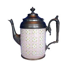 Antique Graniteware Teapot with Pewter Trim, Apple Blossoms,  Rare Pink Color