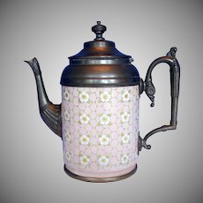 Graniteware (Enamel Ware) Teapot with Pewter Trim, Apple Blossoms, Antique, Rare Pink Color