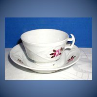 Antique English Cup & Saucer, Basket Weave Molding, Early 19th C