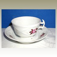English Porcelain Cup & Saucer, Basket Weave Molding, Antique Early 19th C