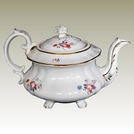 Hilditch Teapot on 4 feet, Antique Early 19th C English  Porcelain