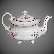 Antique English Teapot on 4 feet,  Early 19th C Hilditch Porcelain, A/F