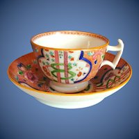 """Antique English Cup & Saucer, """"Dollar Pattern"""" London Shape, Early 19th C"""