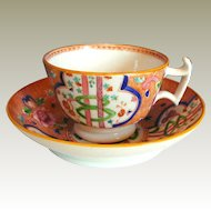 "English Porcelain Cup & Saucer, ""Dollar Pattern"" London Shape, Antique Early 19th C"